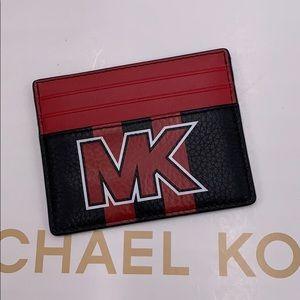 MICHAEL KORS TALL CARD CASE BLACK/SCARLET
